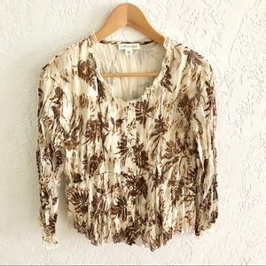 Coldwater Creek Button Front Crinkle Blouse PXS